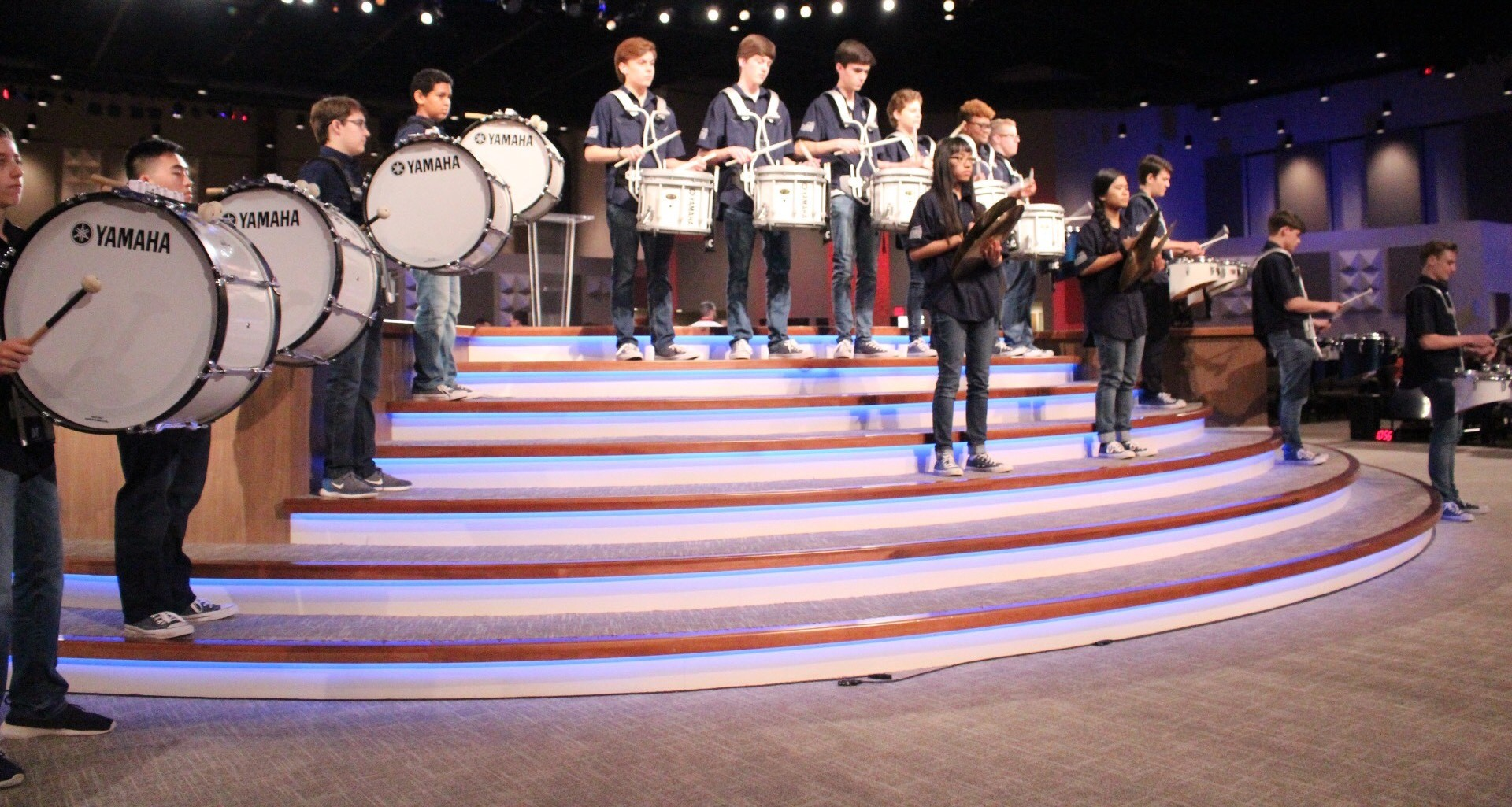 Drumline Performs on Super Bowl Sunday